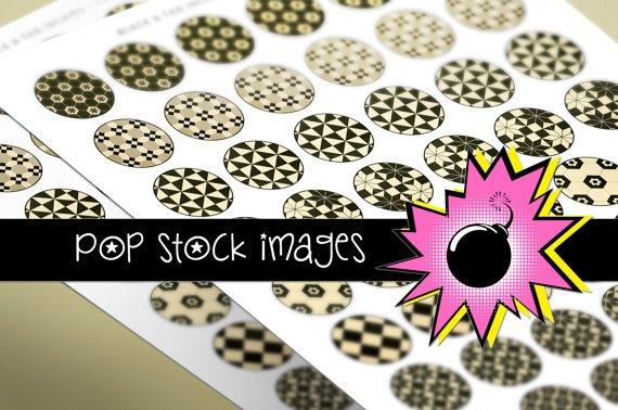 1 Inch CIRCLES BLACK & TAN Geometric Design Collage Sheet-print for Pendants