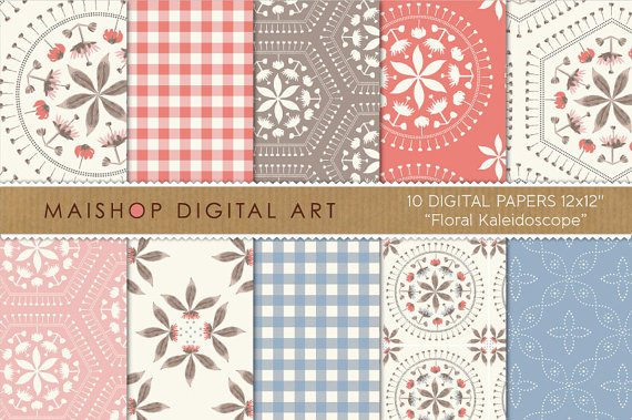 Digital Paper-Floral Kaleidoscope-Coral,Blue,Pink ,Brw papers for W Art,Scrapbook