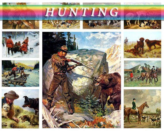 HUNTING theme on 245 vintage print