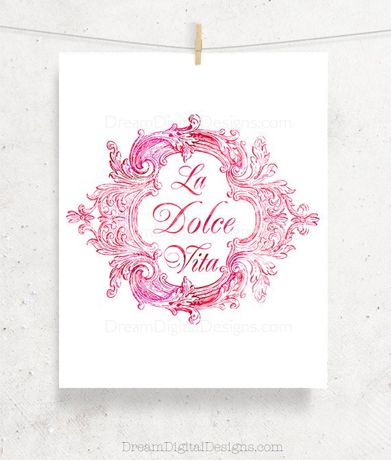Printable La Dolce Vita Art, Kitchen Art, Italian Decor, Vintage Illustration