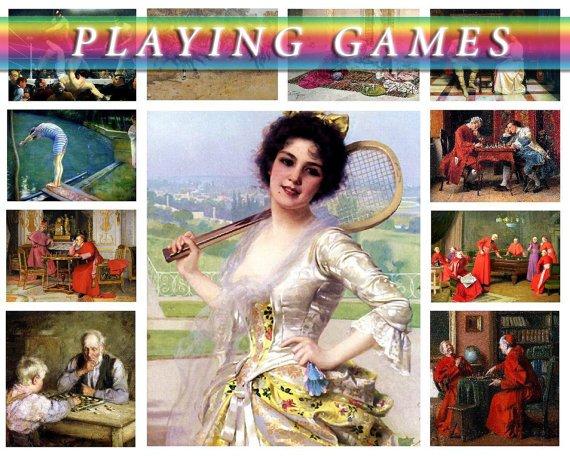 PLAYING GAMES on 242 vintage print