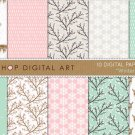PinkGeen Beige Digital Paper-Winter II-DeersBlossomsSnowflakes PatternsCards