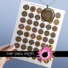 1 Inch CIRCLES Red Blue Geometric Collage Sheet-print for PendantsMagnets