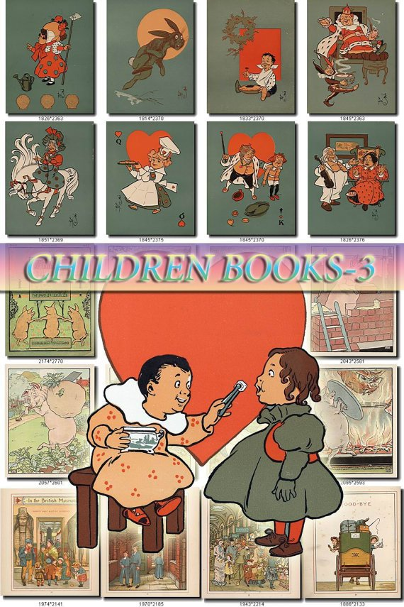 CHILDREN BOOKS-3 illustrations Collection with 270 vintage images High Res.