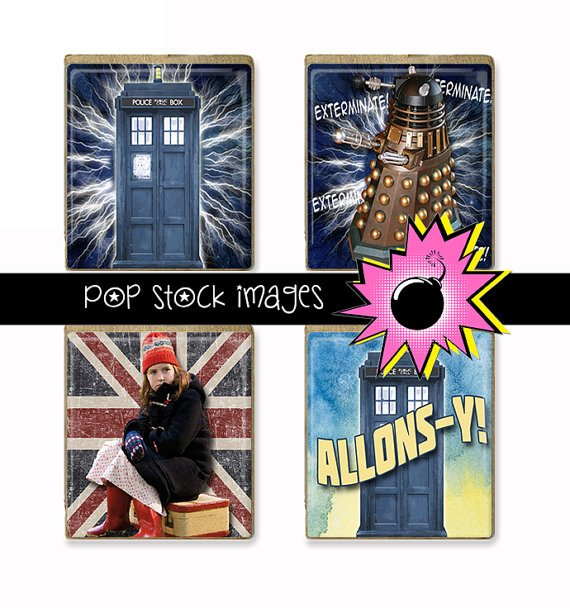 SCRABBLE TILES Doctor Who Collage Sheet-print for PendantsMagnets & Wine Charms