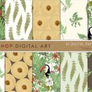 Digital Paper-Tropical-Ferns, Toucans, Wood,, Gift Wrapping, Crafts, Card Design