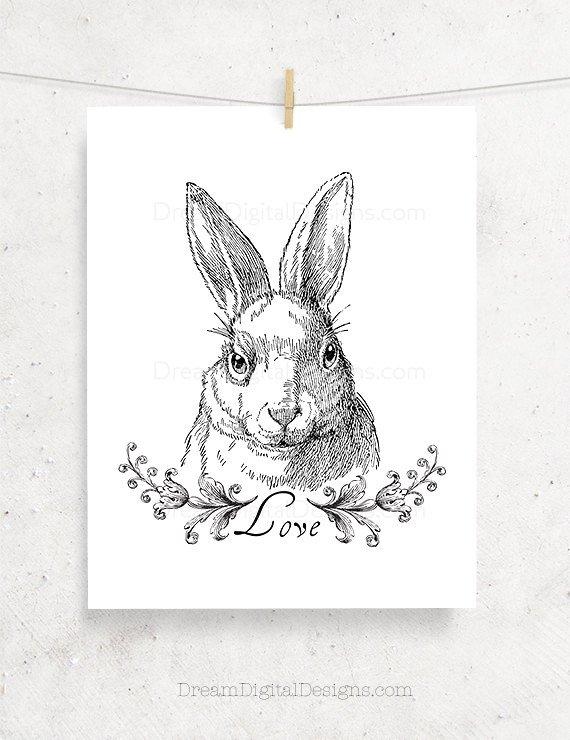 Bunny Love Printable Art, Nursery Art, Black & White, Rabbit Illustration