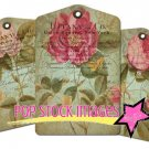 Antique Floral Tags Collage Sheet-Cabbage Roses