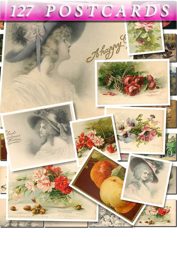 VINTAGE POSTCARDS-1 of 127 Img. Kids Children Women flowers old  clip art