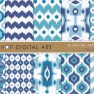 Digital Paper-Ikat II-Blue ,Wh Patterns print Digital Sheets for Invitations,Scrapbooking