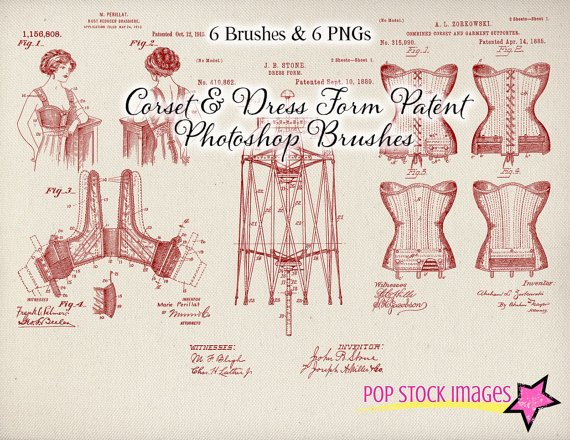Vintage Corset Patent Drawings Photoshop Brushes