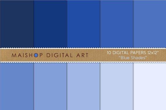 Solid Color Digital Paper-Blue Shades-BackgroundpapersCrafts ProjectsPaper Art