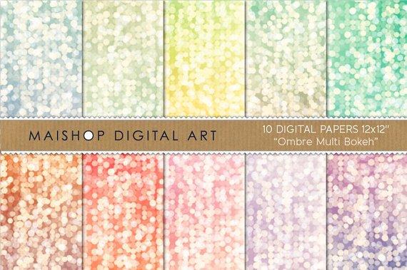 Digital Paper-Ombre Multi Bokeh-BluGrnYWAquaTurquoisePinkpapersCards