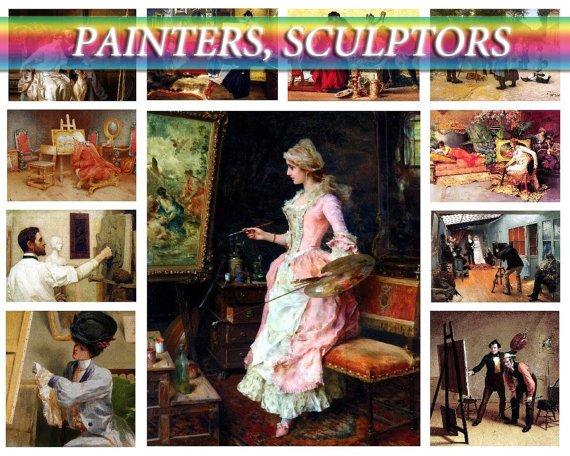 PAINTERS SCULPTORS on 210 images of artists virtuoso on vintage print