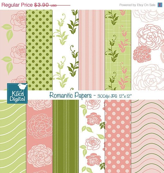Pink , Grn Digital Papers, Romantic Scrapbooking Papers - card design