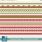 Christmas Ribbons - Digital Clipart / Scrapbook borders - card design