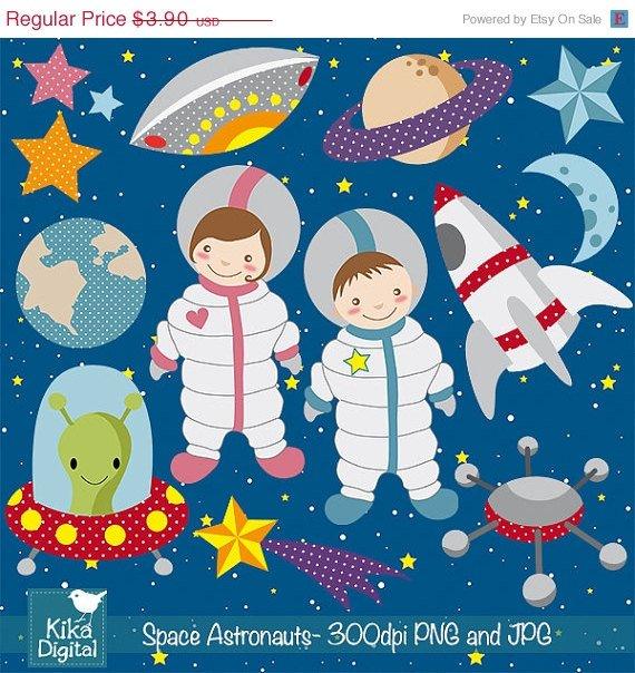 Space Digital Clipart - Astronaut Clip Art - Scrapbooking , card design