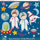 Space Digital Clipart - Astronaut Clip Art - Scrapbooking , card design