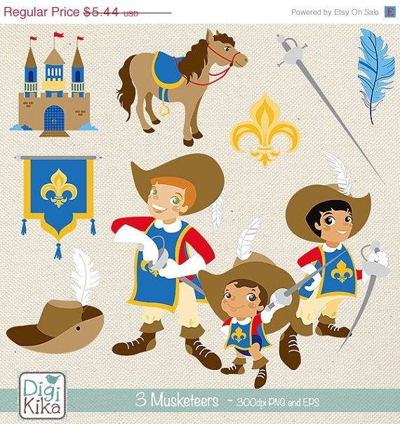 Three Musketeers Clip Art - Musketeers Clipart, Vector Graphics