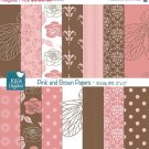 Pink ,Brw Digital Papers, Flowers Scrapbooking Papers, Roses Digital Papers