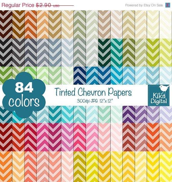 Tinted Chevron Digital Papers - Rainbow Scrapbook Papers - Huge Paper Pack