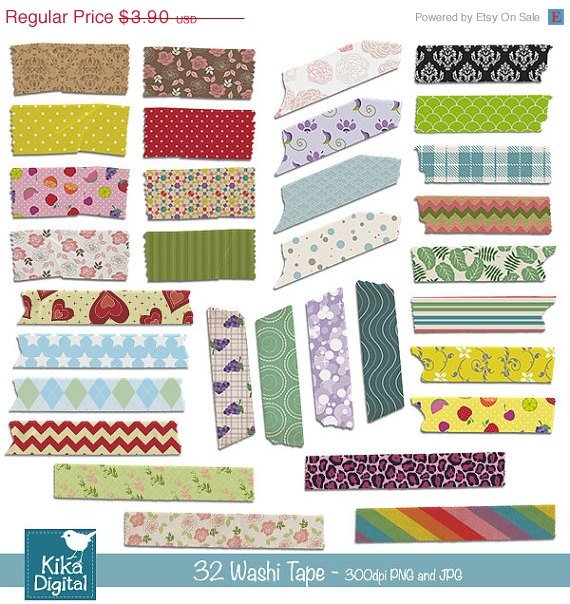 34 Washi Tape colorful - Digital Clipart / Scrapbooking - card design, stickers