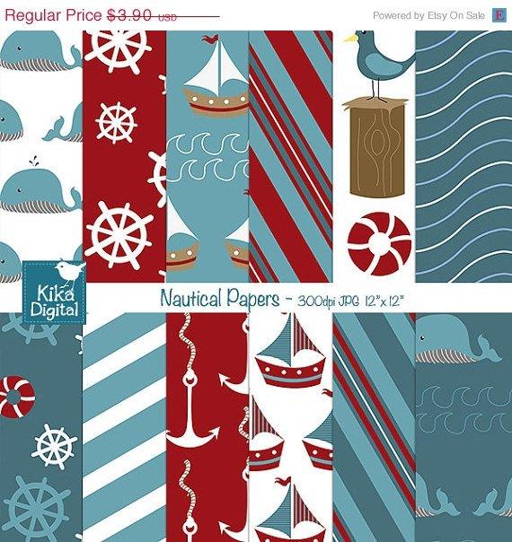 Nautical Digital Papers - Digital Scrapbooking Papers - card design, background
