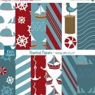 Nautical Digital Papers - Digital Scrapbooking Papers - card design, background