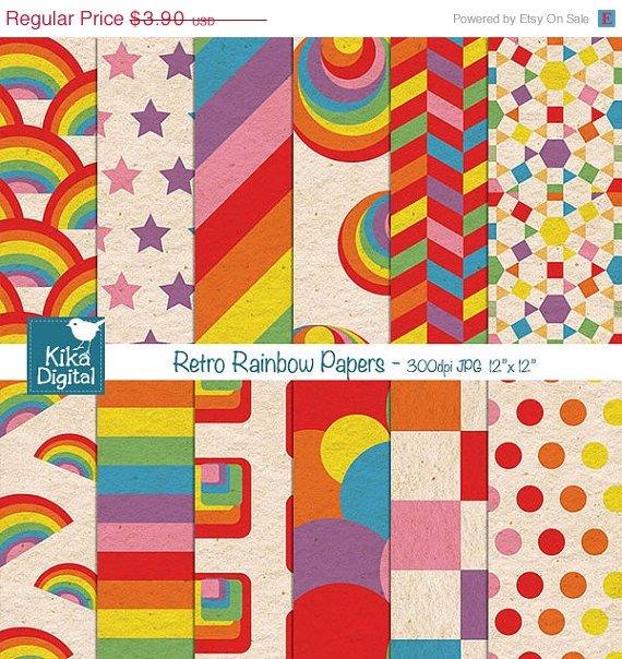 Retro Rainbow Digital Papers - Rainbow Scrapbooking Papers - card design