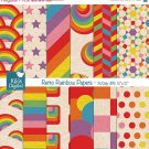 Retro Rainbow Digital Papers - Rainbow Scrapbooking Papers - card design