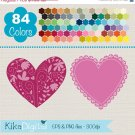 Lace Hearts Clip Art, Rainbow Heart Frames, Colorful Heart
