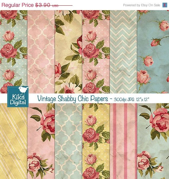 Vintage Shabby Chic Digital Papers - Textured Scrapbooking Paper - card design