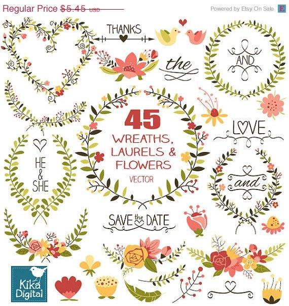 Laurels Wreaths Clip Art-HDrawn WreathsLaurels Flowers ClipartWedding Laurels Vector