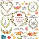 Laurels Wreaths Clip Art-HDrawn WreathsLaurels Flowers ClipartWedding Laurels Vector
