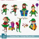 Christmas Elves - Digital Clipart / Scrapbook - card design, invitations