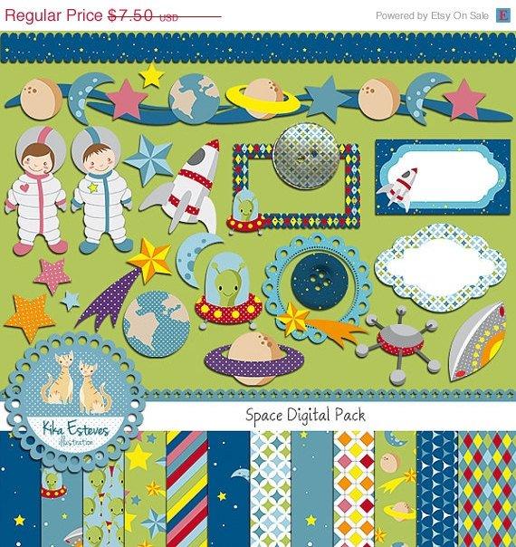 Space Digital Clipart , Paper Combo - Scrapbooking , card design, stickersA