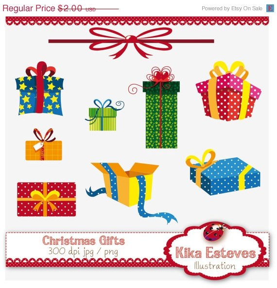 Christmas Gifts - Digital Clipart / Scrapbook - card design, stickers