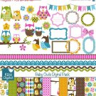Baby Owl Digital Clipart , Paper Pack - Scrapbooking , card design, stickers
