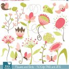 Flowers , Birds Digital Clipart - Scrapbooking , card design, photo booth