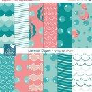 Mermaid Digital Papers - Under Sea Papers - Scrapbook, card design, invitations