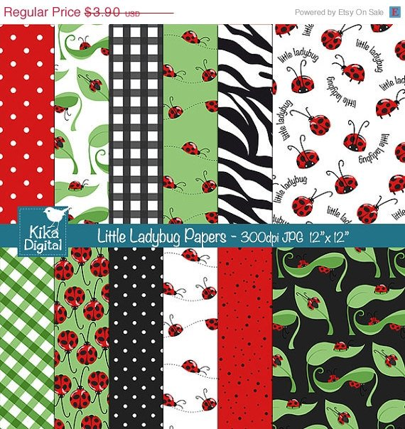 Little Ladybug Digital Papers - Scrapbooking, card design, background