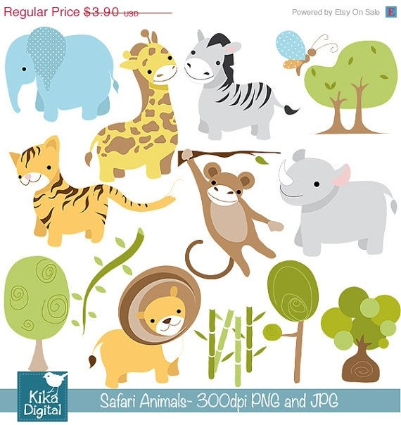 Safari Animals Digital Clip art - Scrapbook , card design, invitations, stickers