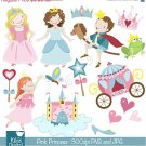 Pink Princess Digital Clipart - Scrapbooking , card design, stickers