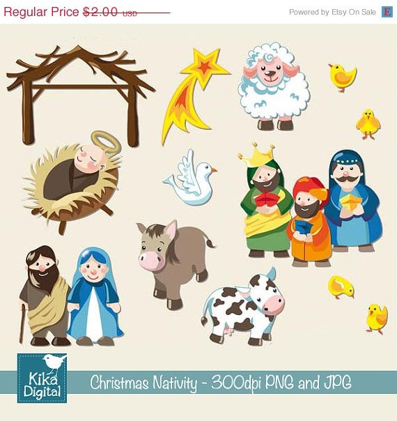 Christmas Nativity - Digital Clipart / Scrapbook - card design, stickers