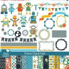 Robots Digital Clipart , Paper Pack - Scrapbooking , card design, stickers