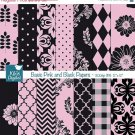 Pink , Black Digital Papers - Digital Scrapbook Papers - card design, background