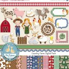 Country Farm Digital Clipart , Paper COMBO- Scrapbooking , card design, stickers