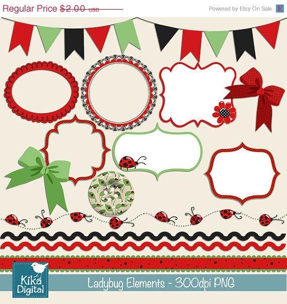 Little Ladybug Elements Digital Clipart-Scrapbooking card designpinkframesbordes