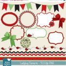 Little Ladybug Elements Digital Clipart-Scrapbooking card designpinkframesbordes