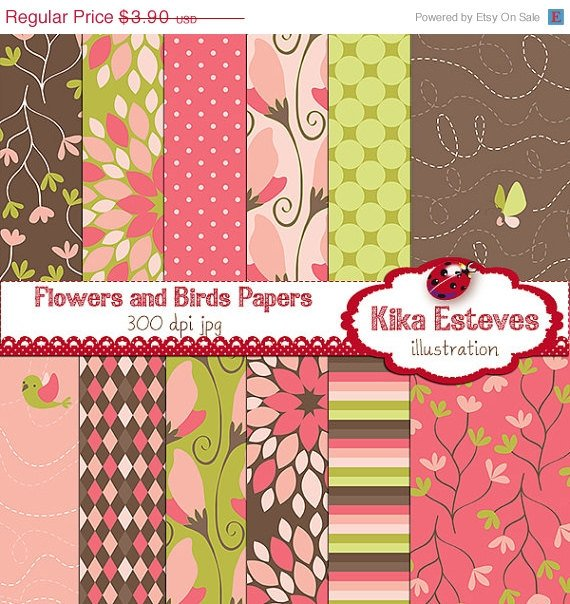 Birds , Flowers Digital Papers - Scrapbooking Papers - card design, invitations